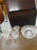 "CRYSTAL BOWL 8"" & 2 SETS OF 2 SERBERT GLASSES"