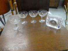 4 CRYSTAL SERBET GLASSES & ROYAL DOULTON CRYSTAL CLOCK