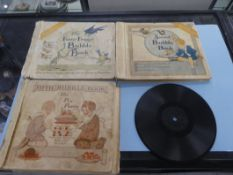 3 ANTIQUE BUBBLE BOOKS CA. 1919 (AS FOUND -SOME RECORDS MISSING) & LITTLE WONDER RECORD CA. 1909