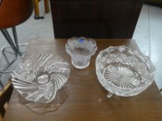 """CRYSTAL FOOTED BOWL 8"""" & 2 CRYSTAL DISHES"""