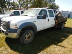 2006 FORD F450 4X4 CREW CAB DUALLY, A/T, V10 ENGINE, 9FTX8FT DECK, 330,612 KM'S SHOWING,