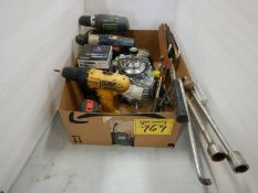 MECHANICS CREEPER, FLAT FREIGHT DOLLY, RECIP SAW, FLIPPERS, MISC HAND TOOLS. ETC