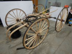 BUGGY FRAME & WHEELS W/RUBBER TIRE MATERIAL, INCOMPLETE RESTORATION BY JIM TRONNES