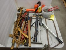 L/O ASSORTED HAND TOOLS, FENCE STRETCHERS, PIPE WRENCHES, FENCING PLIERS, LENGTH OF CHAIN & HOOK,