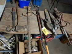 NAIL PULLER, FENCE STRETCHER, GOOSENECK BAR, CABLE COME-A-LONGS, TIGER TORCH, ETC
