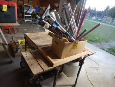 """2-MODIFIED SHOP CARTS, SNOWBRUSHES, ROLL 12"""" TIN, ETC"""