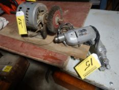 ELECTRIC MOTOR W/WIRE BRUSH WHEEL, B&D 3/8 ELECTRIC DRILL