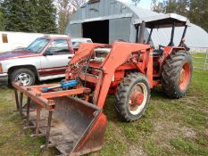 WHITE 1370 FWD DIESEL 54 HP A TRACTOR W/ CANOPY 3 PT, FEL & GRAPPLE 5328 HRS S/N 774963