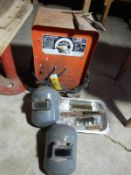 LINCOLN WELDER AC225C W/CABLES, HELMET, CHIPPING HAMMER, WIRE BRUSHES, ETC