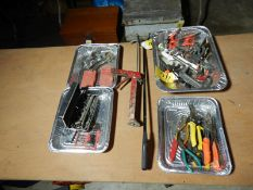 TUBING CUTTERS, VARIOUS CLAMPS, SIDE CUTTERS, HEX KEYS, ETC