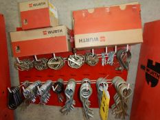 L/O FLIP PINS, COTTER PINS, CARABINERS, C/W WALL MOUNT STORAGE RACK