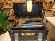 DEWALT POLY TOOLBOX, 18IN MASTERCRAFT ALUMINUM PIPE WRENCH, 2-14IN STEEL PIPE WRENCHES, 4LB SLEDGE