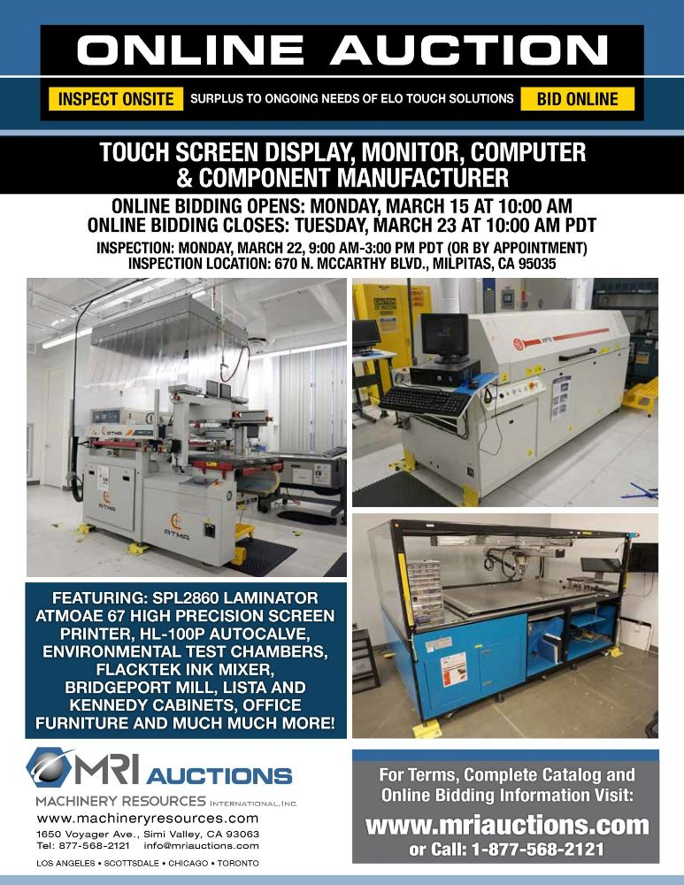 TOUCH SCREEN DISPLAY, MONITOR, COMPUTER & COMPONENT MANUFACTURER – Surplus to Ongoing Needs of Elo Touch Solutions
