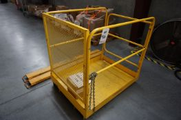 FORKLIFT ATTACHMENTS TO INCLUDE: FORKLIFT EXTENDERS AND MAN CAGE *LATE PICK UP*