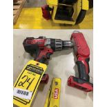 ASSORTED CORDLESS MILWAUKEE TOOLS: 18 V. 1/2 HAMMER DRILL, FLASHLIGHT, M12 CHARGER