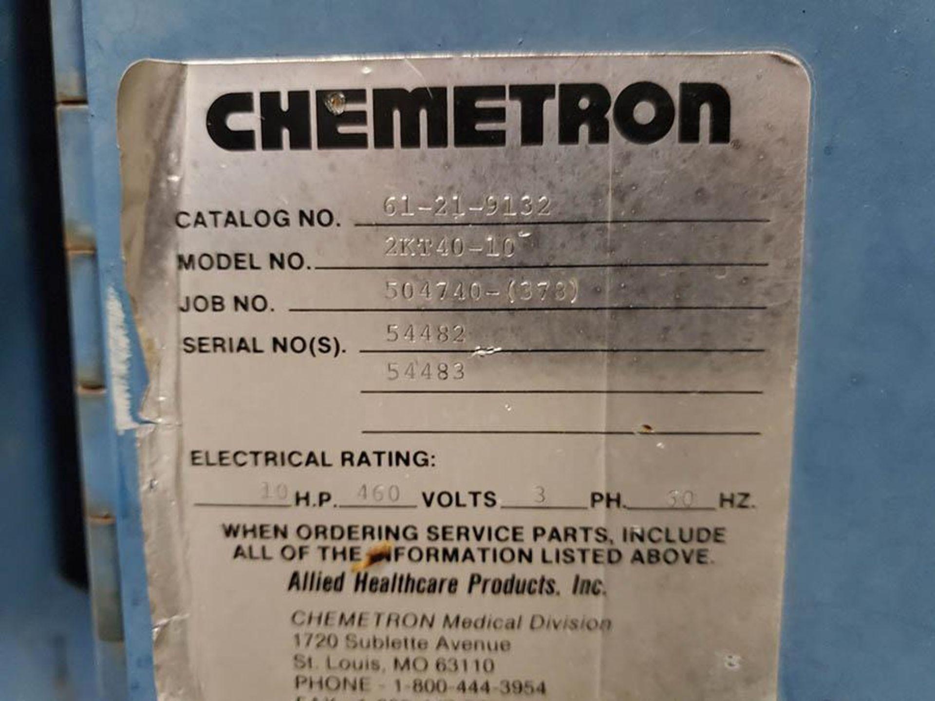 CHEMETRON MEDICAL AIR COMPRESSOR, MODEL 2KT40-10, 10 HP, 6 CYLINDER - Image 6 of 8