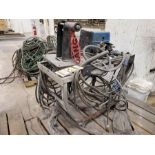 MILLER 60 SERIES 24V WIRE FEEDER WITH REEL ON ROLLING CART WITH GROUNDS, LEADS & HEAD