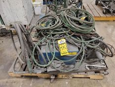 PALLET WITH (2) MILLER WIRE FEEDER, LEADS HEADS, HOSE