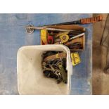 ASSORTED HAND TOOLS, TAPE MEASURES, WRENCHES, ETC.