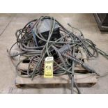 PALLET WITH MILLER WIRE FEEDER, LEADS HEADS, HOSE