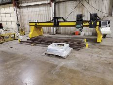 2010 ALLTRA REMAN-AVENGER 2 - 5 CUTTING TABLE BRIDGE, 20' SPAN, CUSTOM PIPE SEAM SANDER, 56' TRACK R