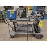 MILLER 60 SERIES 24V WIRE FEEDER WITH REEL ON ROLLING CART WITH GROUNDS, NO HEAD, SOME LEAD