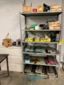 SHELF, CABINET AND CONTENTS OF ASSORTED PRINTING PARTS