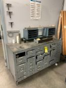 STEEL CABINET WITH HEAVY DUTY TOP, AND CONTENTS OF ASSORTED FITTINGS AND PARTS