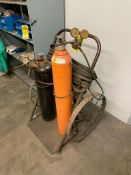 OXY-ACETYLENE CART WITH TORCH, HOSES, AND GAUGES, STEEL WHEELS