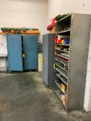 (3) HEAVY DUTY METAL CABINETS AND CONTENTS OF PRINTING PRESS PARTS AND SPECIALTY TOOLS
