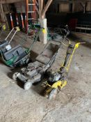 (10) WALK BEHIND LANDSCAPING MACHINES INCL., CONCRETE SAW, PUSH MOWER, AERATOR, (4) SNOW BLOWERS, (3