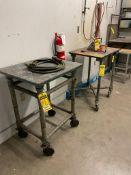 (2) HEAVY DUTY STEEL ROLLING TABLES, 2' X 2.5' X 3'