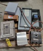 SKID OF ASSORTED ELECTRICAL ENCLOSERS WITH CONTACTOR AND CIRCUIT BREAKER