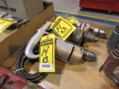 (3) ELECTRIC DRILLS, (2) 1/2 IN. CHUCK, (1) 3/8 IN. CHUCK