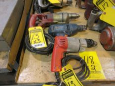 (3) ELECTRIC DRILLS, (1) 1/2 IN. CHUCK, (2) 3/8 IN. CHUCK