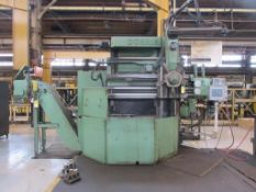 D'ORRIES 63 IN. VERTICAL TURNING LATHE, 5-STATION TURRET, ACU-RITE D.R.O., OUTFEED CHIP CONVEYOR, SI