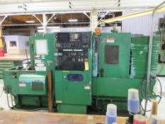 WARNER & SWASEY 15C CNC LATHE, FANUC CONTROL, 12-STATION TURRET, COLLET CHUCK, TAILSTOCK, (2) JAW CH