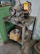 SELLERS TOOL GRINDER, MODEL 1G, S/N 58R1078, 5'' GRINDING WHEEL, (3) SPARE TOOL ARMS ON STEEL TABLE