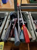 LOT OF RUBBER & PLASTIC MALLETS, HANDLE PRY BARS