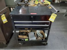TUNGALOY 3-DRAWER ROLLING TOOL CHEST WITH FLIP TOP LID AND CONTENTS