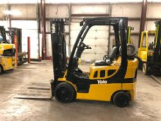 2012 YALE 5,000-LB., MODEL GLC050VX, S/N A910V21399K, LPG, LEVER SHIFT TRANSMISSION, SOLID TIRES,