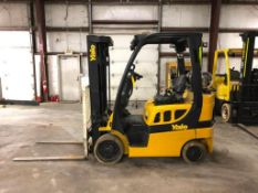 2014 YALE 5,000-LB., MODEL GLC050VX, S/N B910V01619M, LPG, LEVER SHIFT TRANSMISSION, SOLID TIRES,