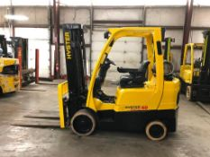2014 HYSTER 6,000-LB., MODEL S60FT, S/N G187V02703M, LPG, LEVER SHIFT TRANSMISSION, SOLID TIRES,