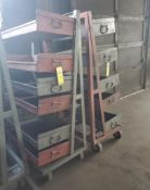 (2) ROLLING MATERIAL CARTS WITH SHELVES