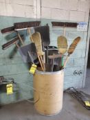 CAN WITH ASSORTED SHOVELS, BROOMS, AND HOES