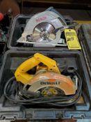 BOSCH AND DEWALT 7 1/4'' CIRCULAR SAW W/ CARBIDE BLADES, 110 V.