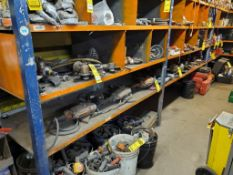 CONTENTS OF SHELVING UNIT, METABO GRINDERS, MILWAUKEE DEEP CUT BAND SAWS, PNEUMATIC METAL CUTTING SA