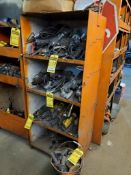 ASSORTED METABO ELECTRIC GRINDERS WITH SHELVING UNITS