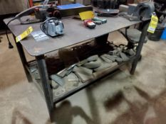WELDING TABLE 36''X60''X3/8'' WITH 6'' VISE AND CONTENTS UNDER TABLE