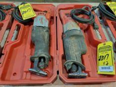 (2) MILWAUKEE SUPER SAWZALLS W/ CASE, 110 V.